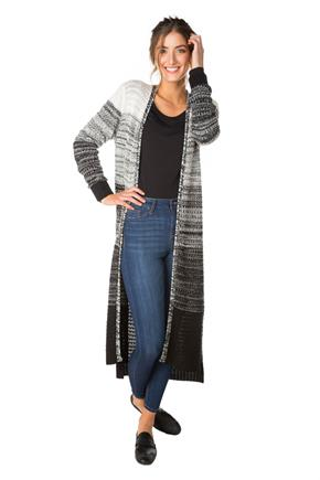 Cardigan long teint par section à motif blocs de couleurs