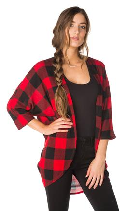 Buffalo Plaid 3/4 Sleeve Cardigan