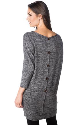 Dolman Sleeve Dress with Back Buttons