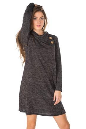 Space Dye Long Sleeve Split Neck A-line Dress
