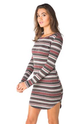 Stripe Ribbed Bodycon Dress with Shirttail Hem