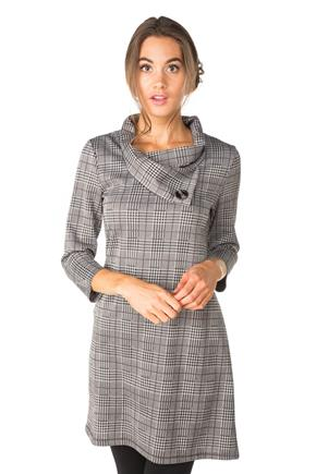 Plaid 3/4 Sleeve Dress with Split Collar