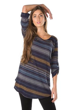 Novelty Stripe Tunic with Rolled-Up Sleeves