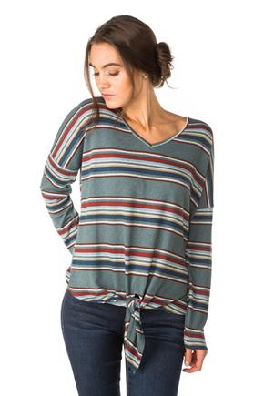 Stripe V-Neck with Tie-Front