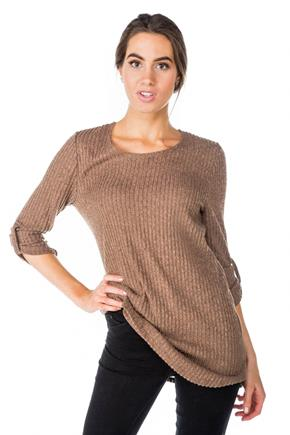 Ribbed Tunic with Roll-Up Sleeves