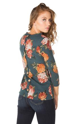 Floral 3/4 Sleeve Sweater with Back Buttons
