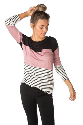 Striped and Colour-Blocked Tunic with Pocket