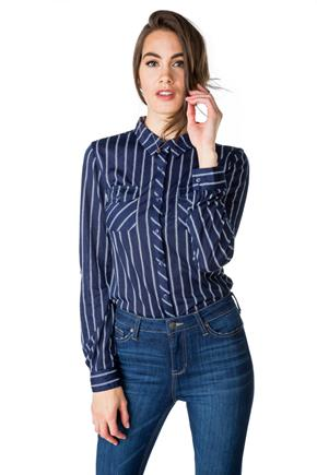 Stripe Shirt with Front Pockets and Roll-up Sleeves
