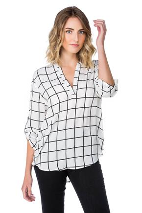 Windowpane Blouse with Roll-up Sleeves