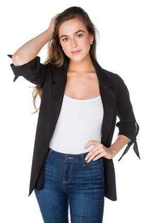 Blazer with 3/4 Tie Sleeves