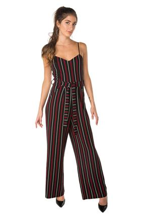 Stripe Wide Leg Jumpsuit with Tie-Belt