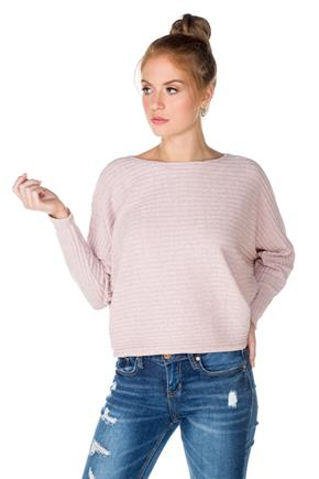 Ribbed Sweater with Dolman Sleeves