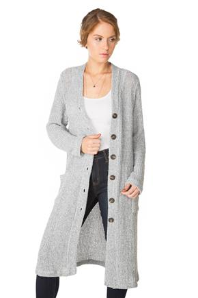 Long Sleeve Cardigan with Large Buttons