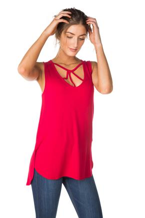 Sleeveless V-Neck Strappy Top