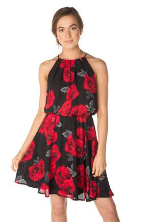 Rose Print Spaghetti Strap Dress with Elastic Waist