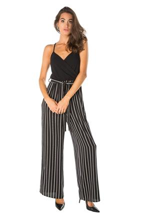 Stripe Crossover Jumpsuit with Tie-Belt