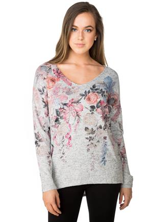 Floral Printed V-neck Sweater