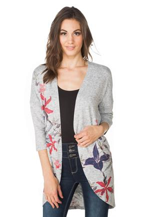 Floral Printed Cocoon Cardigan with 3/4 Length Sleeves