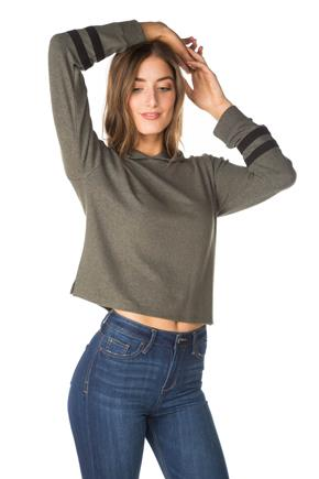 Supersoft Cropped Hoodie with Varsity Stripes