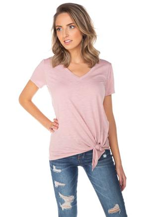 Short Sleeve V-Neck Tee with Side-Tie