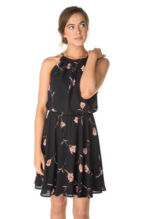 Floral Print Spaghetti Strap Dress with Elastic Waist