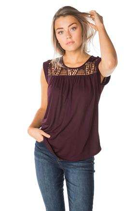 Sleeveless Top with Lace Yoke