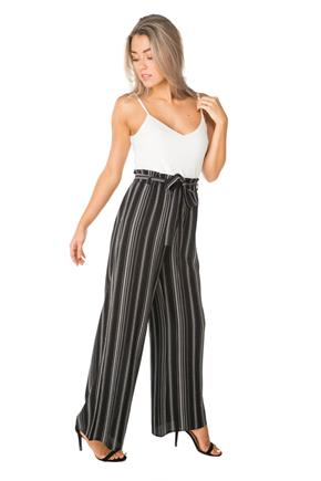 Stripe Paperbag Jumpsuit with Tie-Belt