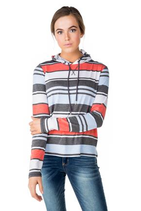 WallFlower Stripe Long Sleeve Hoodie