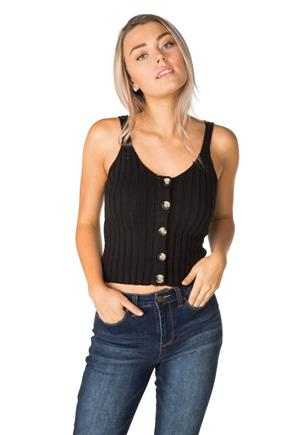 Ribbed Cropped Tank with Large Buttons