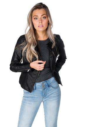 "Only ""Flora"" Faux Leather Biker Jacket"
