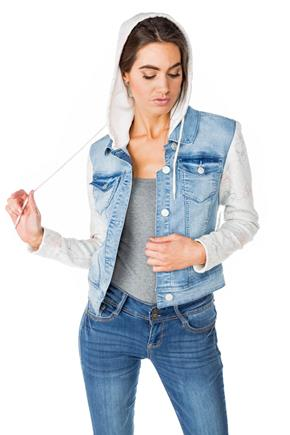 WallFlower Lady Wash Denim Jacket with Floral Sleeves and Hood