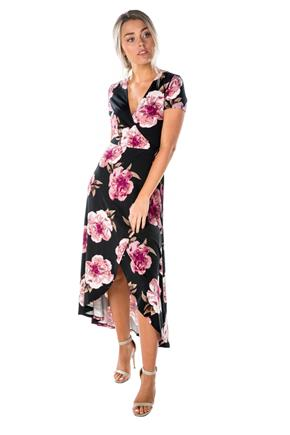 Floral Print Cap Sleeve Crossover Dress