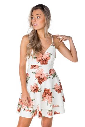Floral Skater Dress with Lace Zipper Back