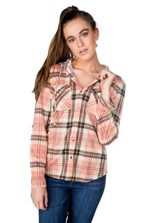 Plaid Shirt with Hood and Roll-Up Sleeves