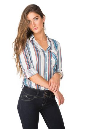 Stripe Boyfriend Shirt with One pocket and Roll-Up Sleeves
