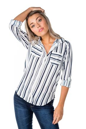 Stripe Boyfriend Shirt with Roll-Up Sleeves