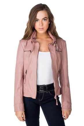 Faux Leather High Collar Jacket with Zipper Pockets