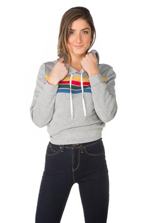 Fleece Hoodie with Rainbow Stripes
