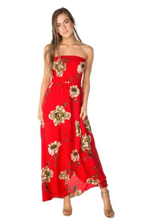 Floral Strapless Dress with Crossover Hem
