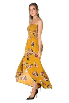 Floral Dress with Crossover Hem