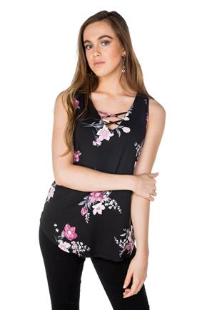 Floral Sleeveless Tunic with Criss-Cross Detail