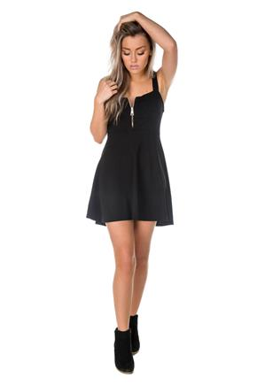 Wide Strap Skater Dress with Chunky Zipper