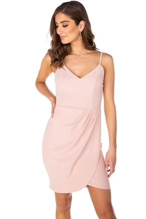 Spaghetti Strap V-Neck Dress with Crossover Skirt