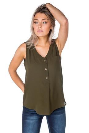 Sleeveless Top with Half-Placket and Pocket