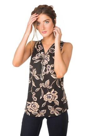 Floral Sleeveless Blouse with Zipper
