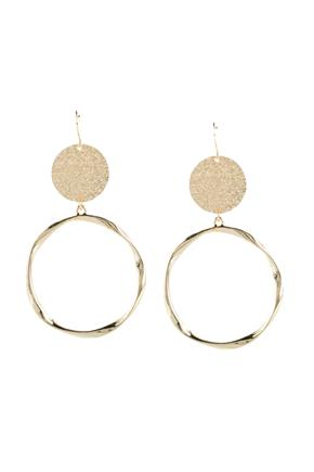 Dangling Frosted Circle and Hoop Earrings