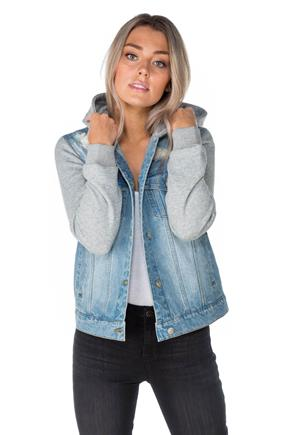 Distressed Denim Jacket with Fleece Hood and Sleeves