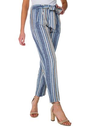 Striped Linen Ankle Pant with Tie-Belt
