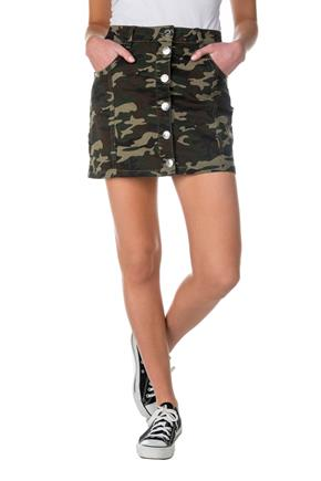 Almost Famous Camouflage Skirt with Buttons