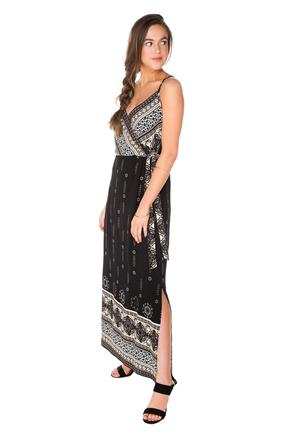 Border Print Crossover Maxi Dress